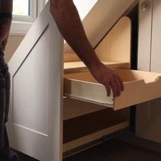 Accuride Touch Release Drawer Slides - Achieve a new kind of effortless with this Accuride Original. Activated by a push, the mode - Woodworking Projects For Kids, Woodworking Plans, Wood Projects, Japanese Woodworking, Woodworking Store, Woodworking Classes, Staircase Storage, Stair Storage, Space Saving Staircase