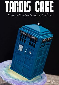 "OMG! This is the coolest cake (WITH tutorial) I have ever seen! It is on the ""I'm Topsy Turvy"" site on the Tardis Cake Tutorial post. I am in love"