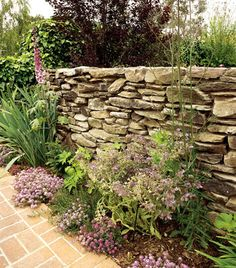 dry stack stone wall - less expensive than motared wall.  Also allows water to flow through.  like the look