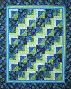 "This pattern is for a quick and easy quilt in two sizes. The lap size (62 1/2"" x…"