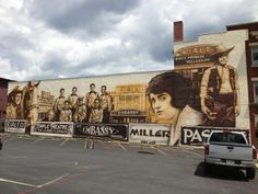 Mural by Dwight Kirkland in downtown Lewistown depicting the theaters of yesteryear.  It was completed in 2013.