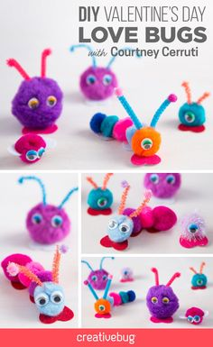 Bug out with the little ones this Valentine's Day with this fun and simple project. Courtney Cerruti shows you how to make these cute love bugs using pipe cleaners, pompoms and googly eyes.