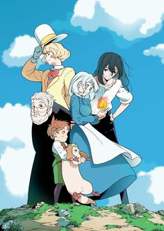 Studio Ghibli Art, Studio Ghibli Movies, Personajes Studio Ghibli, Howl And Sophie, Studio Ghibli Characters, Chihiro Y Haku, Japon Illustration, Anime Scenery Wallpaper, Howls Moving Castle