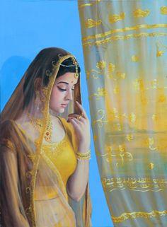She is a Indian beauty. Indian Women Painting, Indian Art Paintings, Indian Artist, India Painting, Woman Painting, Yoga Lyon, Krishna Art, Radhe Krishna, Famous Art