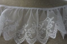 White Embroidered Ruffle Lace with flower by CreationsbyLSM, $3.55