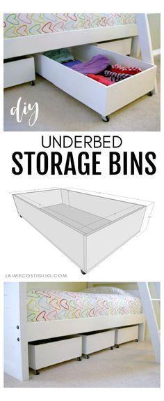 Under Bed Storage Bins, Diy Storage Bed, Kids Storage, Table Storage, Bedroom Storage, Underbed Storage Ideas, Underbed Storage With Wheels, Rolling Storage Bins, Plywood Storage