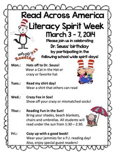 Read across America Week | Read Across America Spirit Week