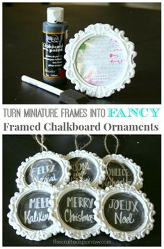 The Crafted Sparrow: Fancy Framed Chalkboard Ornaments & Giveaway