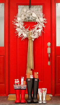 Holiday door, wreath and gift filled boots. Christmas related inspirational photos, recipes and diy projects.
