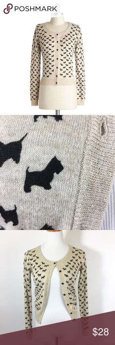 Scottie dog cardigan Super cute oatmeal button front cardigan sweater by Timing with black Scottie dogs. Ribbed at cuffs and waist. Rounded neckline. Like new condition. Modcloth Sweaters Cardigans