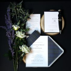 This simple understated design is timeless...One of our newer designs featuring classic white stationery with an elegant black typeface, complimented with a soft grey envelopes and the rich and traditional Spirit of Bannockburn tartan. Stationery Design, Wedding Stationery, Wedding Invitations, Tartan Wedding, Envelope Liners, Bespoke Design, Classic White, Envelopes, Thank You Cards
