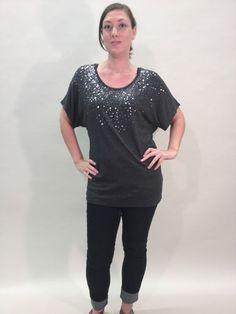 Karen Kane Sequin Tunic Dark Grey Size M $55.99 | eBay www.darlingdiscounts.com