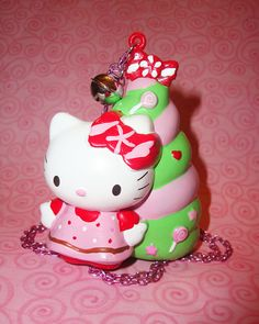 Kawaii Hello Kitty Candy Christmas Tree Necklace by wearitcuter, $14.50