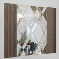 - Mirror Designs - Wall Decorate Panel with Mirrors, Marble and Wood Wall Decorate Pa. Foyer Design, Lobby Design, Ceiling Design, Feature Wall Design, Wall Panel Design, Glass Wall Design, Feature Walls, Wall Mirror Design, Modern Mirror Design