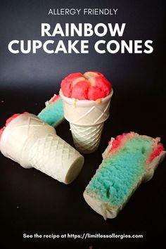 Fun Desserts, Delicious Desserts, Dessert Recipes, Cake Recipes, Breakfast Recipes, Cupcake Cones, Cupcake Frosting, Rainbow Cupcakes, Easy Homemade Recipes