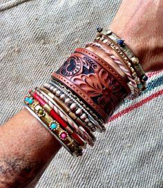 Leather Cuff Bracelet Tooled Vintage Leather Cuff Jewelry Bracelets Upcycled Tooled Jewelry