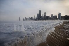 Iced Out: America's Polar Vortex in 10 Chilling Photos ( A frozen Lake Michigan sits still in front of the Chicago skyline. Chicago felt a record low temperature of degrees Fahrenheit on Monday. Lago Michigan, Lake Michigan Frozen, Chicago Lake, Chicago Skyline, Chicago Illinois, Chicago Usa, Chicago Trip, Chicago Blackhawks, Grands Lacs