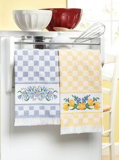 Kitchen Essentials Cross Stitch Patterns flowers on kitchen towels