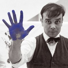 YVES KLEIN - He is best known for his trademark ultramarine pigment, which he patented as International Klein Blue in 1961. Starting in mid-1950s, Klien made retinal blue monochromes and the pigment would also feature prominently in his Anthropometry paintings, for which Klien smeared nude women with blue pigment and used them as human brushes on canvas, sometimes in elaborate public performances.