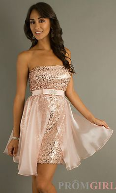 Short Strapless Sequin Dress at PromGirl.com
