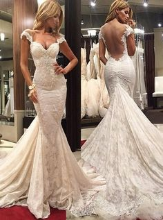 Delicate Scoop Illusion Back Cap Sleeves Court Train Lace Mermaid Prom Dress