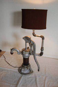 Industrial Style Lamps, Rustic Lamps, Rustic Lighting, Unique Lighting, Diesel Punk, Upcycled Vintage, Repurposed, Old Water Pumps, Lamps For Sale