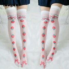 fd51c78a0 Long Sexy Stockings Female Lolita Strawberry Printed Thin Thigh High Over  the Knee Girls Ladies Women Maid Cosplay