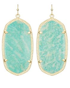 Our latest favorite hue, natural Amazonite, adorns the signature Danielle Earring for a statement of watercolor-inspired beauty. French Hook. 14K Gold Plated Brass.