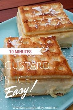 10 Minute Custard Slice (Thermomix Version) – Mum's Pantry Just Desserts, Delicious Desserts, Dessert Recipes, Custard Desserts, Quick Dessert, Custard Recipes, Cake Recipes, Custard Slice, Custard Tart