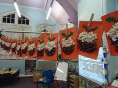 Christmas Pudding Display, Classroom Display, class display, christmas, santa, pudding, present, food, Early Years (EYFS), KS1 & KS2 Primary Resources