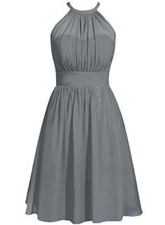 Cdress Halter Short Chiffon Bridesmaid Prom Dresses Weddi...