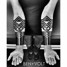 Did this pair of strong #blackwork, geometric and linear #artdeco adornments for a very special woman. Clara, a retired pro boxer, activist, writer and world traveler is marking some major life changes with some bold symbols of empowerment. Safe travels, friend! :) #benvolt #tattoo #tattoos #graphicdesign #form8tattoo #sanfrancisco #blackworkerssubmission