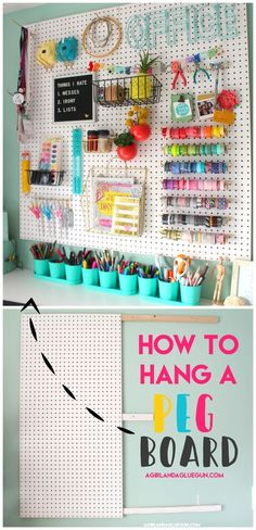 craft room ideas \ craft room ideas craft room organization craft room storage craft room design craft room craft room office craft room ideas on a budget craft room decor Craft Room Storage, Sewing Room Organization, Organizing Ideas, Pegboard Craft Room, Fabric Storage, Diy Storage, Craft Room Organizing, Hang Pegboard, Girls Room Storage
