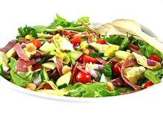 Hearty and Skinny Antipasto Main Course Salad...Salad meets antipasto in this colorful, bursting with flavor, main course salad. This glorious salad has 236 calories and 10 grams of fat including, the dressing and cheese and 6 Weight Watchers POINTS PLUS.
