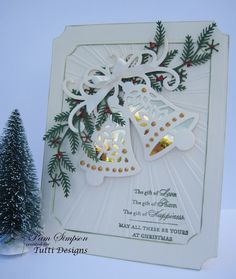 "Good morning everyone,  sharing my DT project.. Christmas card using this beautiful die.       Tutti Designs ""Ringing Bells"" 141           ..."