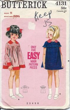 Vintage 50s Butterick Girls Dress Sewing Pattern 4131 Size 5