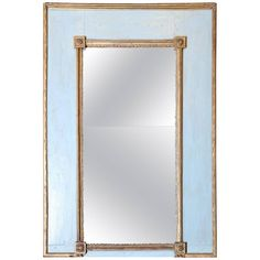 Very Simple Blue-Painted and Gilt Mirror