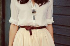 #fashion #belt #spring #white #shirt