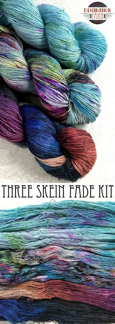 Three skeins total of First Class Single, one of each of the following colorways: Spaceship Earth, Color Run, and Swim Up Bar. Total of 1314 yards. Perfect for a So Faded Sweater! Hand-dyed, sock/fingering weight yarn for knitting, crochet, and DIY crafts!
