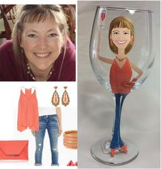 Painted Portrait Caricature Wine Glass by HANDPAINTEDBYCYNDIE