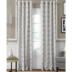 "Elrene Crackle Linen Grommet 52"" x 84"" Panel ($42) ❤ liked on Polyvore featuring home, home decor, window treatments, curtains, light gray, light gray curtains, elrene home fashions, geometric pattern curtains, linen grommet curtains and linen window treatments"