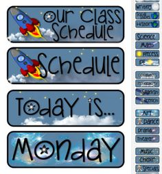 Outerspace Space Theme Pocket Chart Subject Schedule Cards. So cute for a space themed classroom!