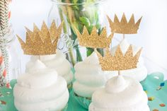 Wild Rumpus Cupcake Toppers, Where the Wild Things Are Birthday Party, Baby Shower - Golden Crowns Cupcake Toppers (one dozen)
