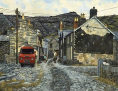 Blaenau Ffestiniog by Christopher Hall Date painted: Landscape Art, Landscape Paintings, Snowdonia, Art Uk, Built Environment, Your Paintings, Beautiful Islands, Illustration Art, Illustrations