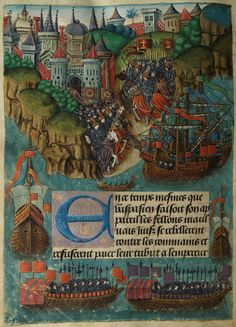 The Vaux Passional - The Emperor sends Vespasian with an army to destroy the Jews (f. 177v) - National Library of Wales