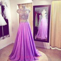 2016 Lilac Prom Dress 2 Pieces Prom Gown With Silver Beading Long Chiffon Formal Evening Dresses For Teens