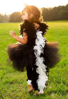 Stinkin adorable Skunk tutu dress and feathers Halloween Costume by www.BlissyCouture.com