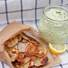 Homemade Potato Chips and Avocado Ranch Dip! The potato chips are great, but do you know how long I've looked for avocado ranch dip??? I'm in heaven.