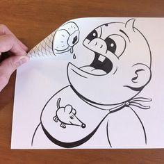 O artista dinamarquês HuskMitNavn tem em seu portfólio, além de grafite e ilustrações para a mídia, desenhos simples em papel e caneta que formam ilusões de ótica bem divertidas. Dobrando, amassando e rasgando os papéis, o artista recria cenas do cotidiano de uma maneira bem diferente da tradicional. Confira mais desenhos em DesignTendencia.com