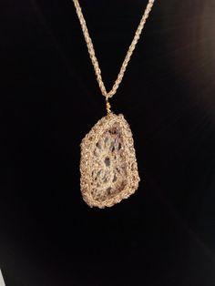 Crochet Necklace Elegkant Jewelry Pendant by DesignByIrenne